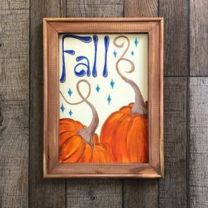 Framed canvas fall painting